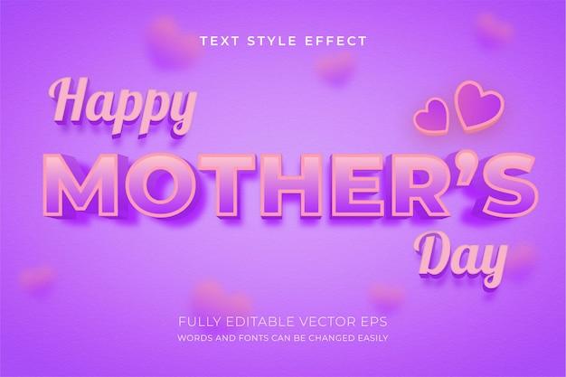 Effetto stile testo viola modificabile 3d per la festa della mamma con sfondo adorabile