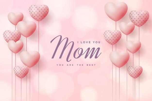 Sfondo festa della mamma con palloncini amore e nastro.