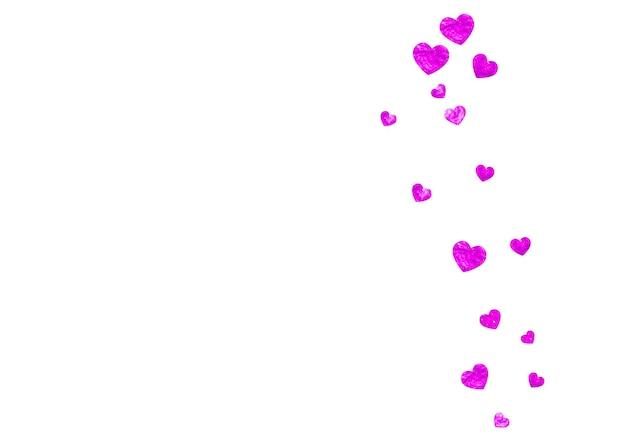 Sfondo festa della mamma con coriandoli glitter rosa. simbolo del cuore isolato in colore rosa. cartolina per lo sfondo della festa della mamma. tema d'amore per buoni regalo, buoni, annunci, eventi. festa delle donne