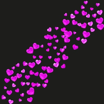 Sfondo festa della mamma con coriandoli glitter rosa. simbolo del cuore isolato in colore rosa. cartolina per lo sfondo della festa della mamma. tema d'amore per voucher, banner aziendale speciale. festa delle donne
