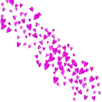 Sfondo festa della mamma con coriandoli glitter rosa. simbolo del cuore isolato in colore rosa. cartolina per la festa della mamma. tema d'amore per volantino, offerta speciale per affari, promo. modello di vacanza per donne