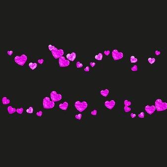Sfondo festa della mamma con coriandoli glitter rosa. simbolo del cuore isolato in colore rosa. cartolina per la festa della mamma. tema d'amore per offerte commerciali speciali, banner, volantini. modello di vacanza per donne
