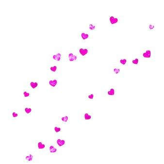 Sfondo festa della mamma con coriandoli glitter rosa. simbolo del cuore isolato in colore rosa. cartolina per la festa della mamma. tema d'amore per voucher, banner aziendale speciale. modello di vacanza per donne
