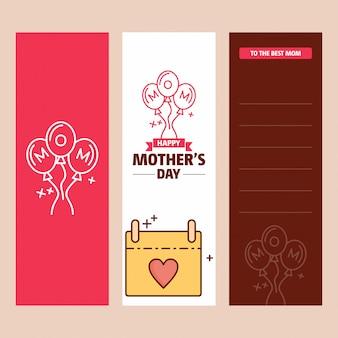 Biglietto festa della mamma con logo femminile e tema vettoriale rosa