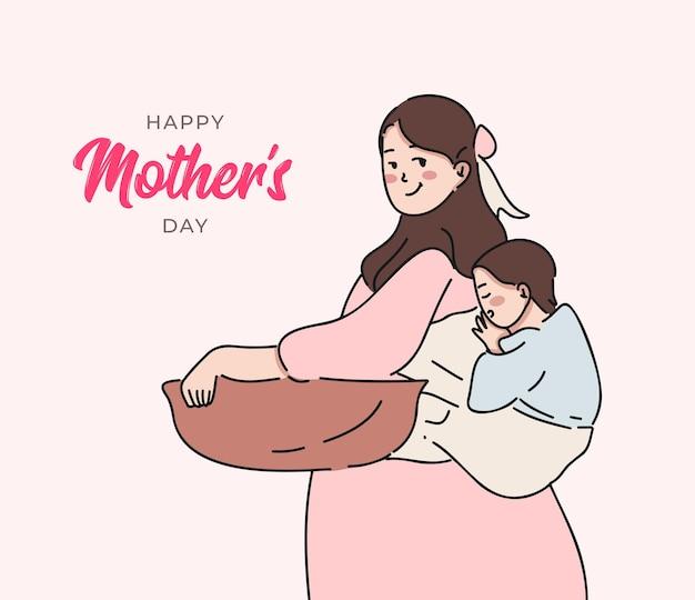 Illustrazione di festa della mamma con la madre e suo figlio.