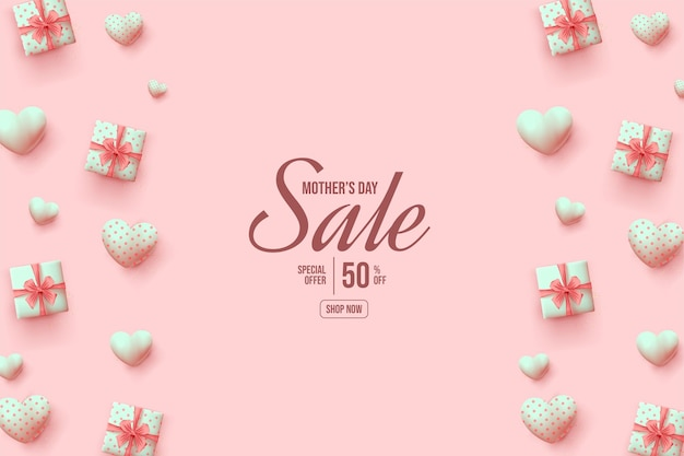 Sfondo di vendita festa della mamma con scatole regalo e palloncini rosa.