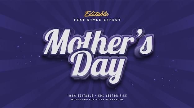 Testo della festa della mamma in stile retrò blu con effetto goffrato. effetto stile testo modificabile