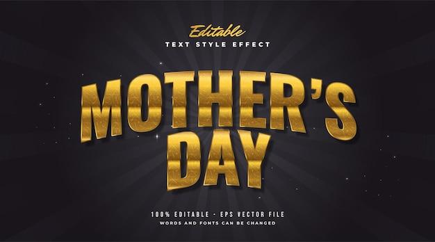 Testo della festa della mamma in lussuoso stile dorato con effetti curvi e trame. effetto stile testo modificabile