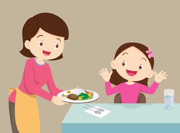 La madre ha servito il cibo a sua figlia