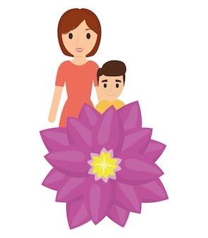 Madre e figlio amano il fiore