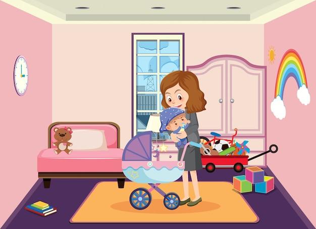 La madre prende il suo bambino dal passeggino in stile cartone animato casa
