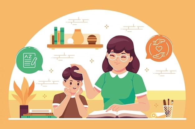 Madre che insegna al fondo dell'illustrazione della figlia