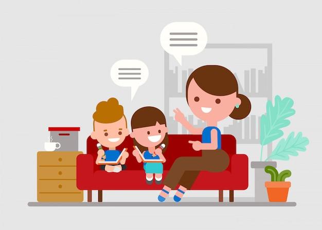 Madre che insegna ai suoi figli. bambini che fanno i compiti con il genitore.