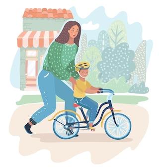 Madre che insegna a suo figlio ad andare in bicicletta per la prima volta. la mamma insegna al suo ragazzo a pedalare sulla natura. genitorialità, concetto di maternità. illustrazione del fumetto di vettore nel concetto moderno