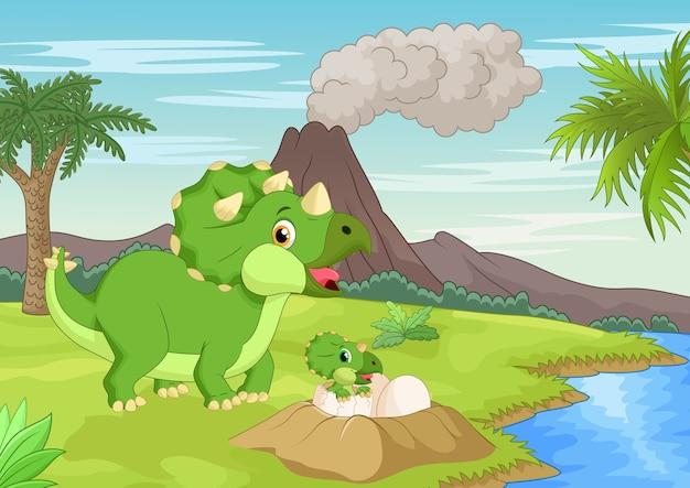 Madre triceratopo con bambino che cova