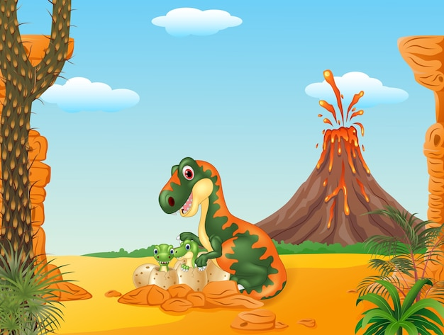 Tirannosauro madre e dinosauri bambino schiusa
