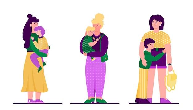 Madre con bambino set di tre famiglie con persone dei cartoni animati che si abbracciano