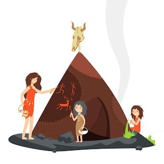 Madre con bambini in età della pietra personaggio dei cartoni animati di persone primitive