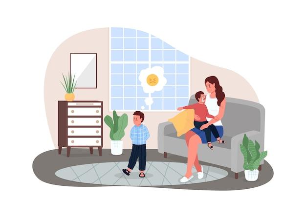 Madre con bambini che combattono banner web 2d