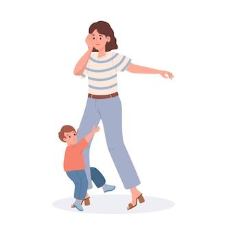 Madre con la sua illustrazione piatto figlio isolato