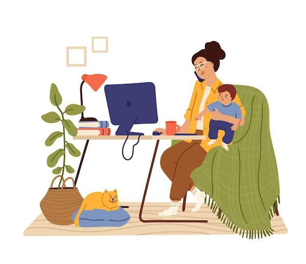 La mamma lavora da casa. mamma lavoratrice, libera professionista impegnata che tiene in braccio un bambino. donna seduta scrivania parlare telefono sciccoso concetto vettoriale. illustrazione madre con bambino freelance, donna freelance bambino occupato e lavoro