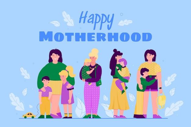 Banner di maternità per la festa della mamma e l'illustrazione piana di vettore delle cliniche familiari