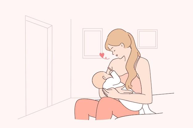 Maternità, allattamento al seno, illustrazione del concetto di famiglia