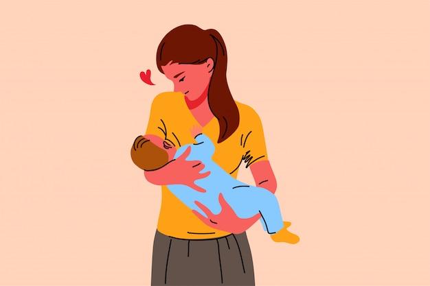 Maternità, infanzia, allattamento, cura, concetto di amore