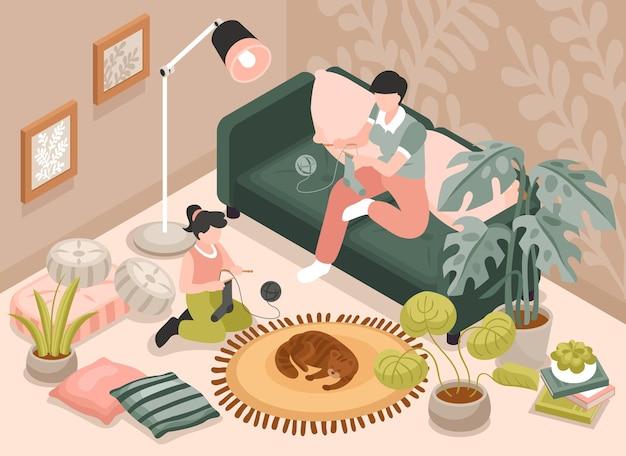 Fondo isometrico della maternità con l'illustrazione dei simboli della famiglia e del tempo libero