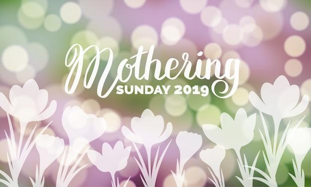 Tipografia di mothering sunday 2019 sul fondo vago bokeh