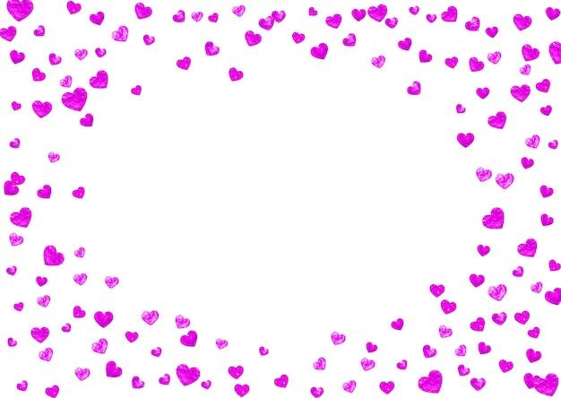 Sfondo festa della mamma con coriandoli glitter rosa. simbolo del cuore isolato in colore rosa. cartolina per lo sfondo della festa della mamma. tema d'amore per buoni regalo, buoni, annunci, eventi. design per le vacanze delle donne