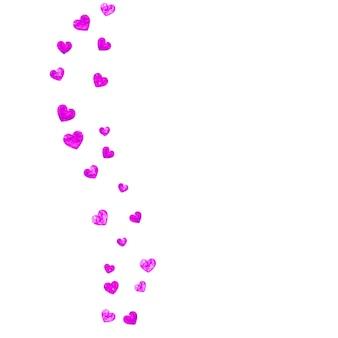 Sfondo festa della mamma con coriandoli glitter rosa. simbolo del cuore isolato in colore rosa. cartolina per lo sfondo della festa della mamma. tema d'amore per voucher, banner aziendale speciale. design per le vacanze delle donne