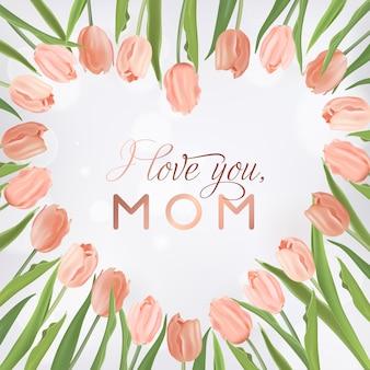 Modello di banner per la festa della mamma con bouquet di fiori di tulipani. biglietto di auguri floreale per le vacanze della festa della mamma per volantini, brochure, modelli di sconto primavera in vendita. illustrazione vettoriale