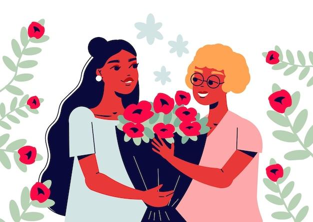 Biglietto per la festa della mamma con composizione di personaggi femminili in stile scarabocchio che si salutano con l'illustrazione del mazzo di fiori