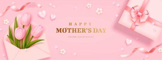 Carta di giorno di madri con i tulipani