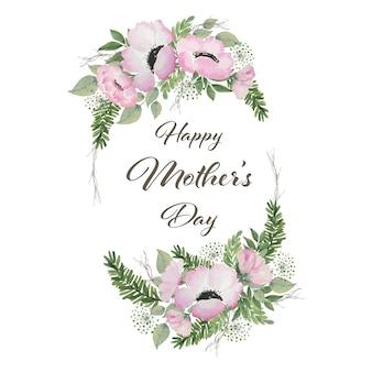 Decorazione della cornice floreale per la festa della mamma