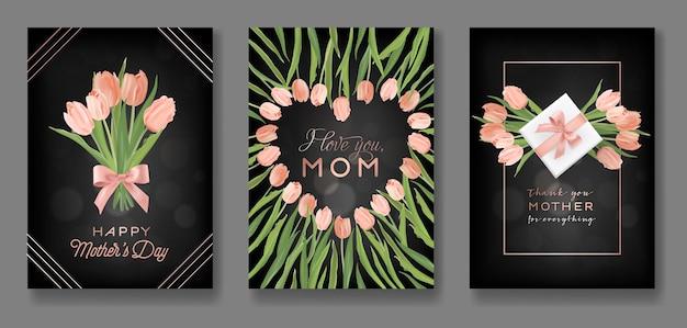 Insieme di progettazione della cartolina d'auguri di giorno di madri. volantino per la festa della mamma con fiori di tulipano, regali e cuori glitter dorati per poster, striscioni, inviti. illustrazione vettoriale