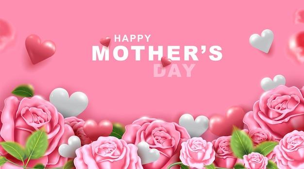 Biglietto di auguri per la festa della mamma con bellissimi fiori in fiore