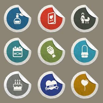 Set di icone per la festa della mamma per siti web e interfaccia utente