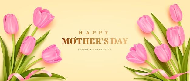 Manifesto di giorno di madri o banner con tulipani