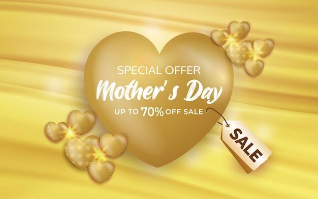 Manifesto o banner di vendita di giorno di madri con cuori dolci su fondo oro
