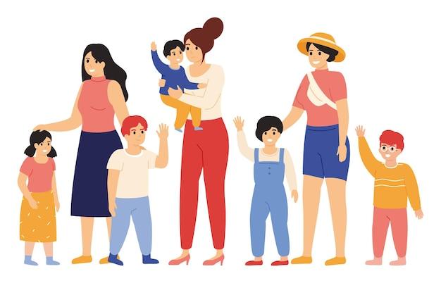 Madri e bambini. amiche con bambini, sorridenti e agitando la mano, maternità felice