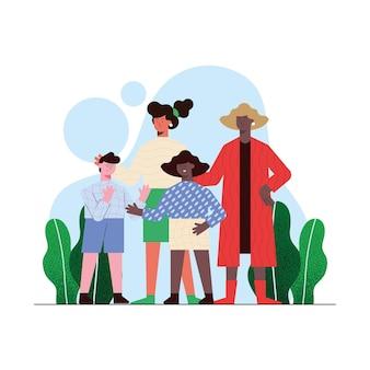 Madri con figlia e figlio nel parco