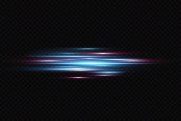 Effetto luce di movimento per banner. linee blu. l'effetto della velocità su uno sfondo blu. linee rosse di luce, velocità e movimento. riflesso lente.