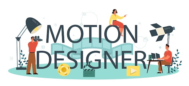 Concetto di intestazione tipografica di motion o video designer