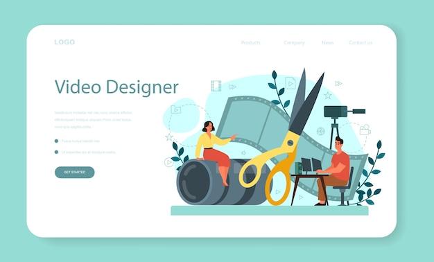 Banner web o pagina di destinazione di motion o video designer. l'artista crea animazioni al computer per progetti multimediali. editor di animazione, produzione di cartoni animati.