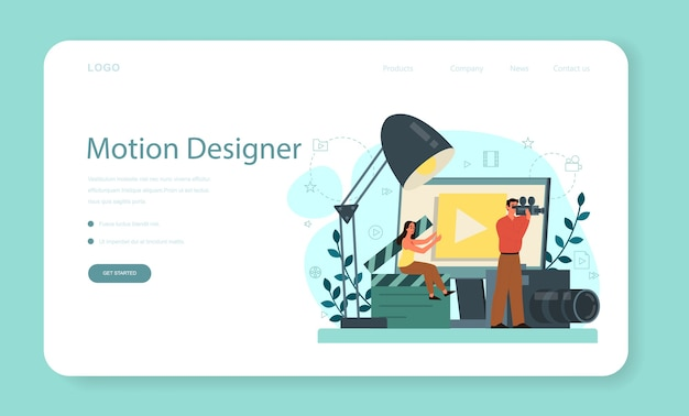 Banner web o pagina di destinazione di motion o video designer. l'artista crea animazioni al computer per progetti multimediali. editor di animazione, produzione.