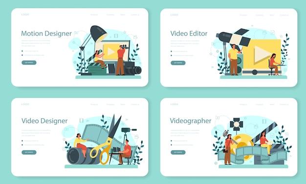 Set di pagine di destinazione web di motion o video designer. l'artista crea animazioni al computer per progetti multimediali. editor di animazione, produzione di cartoni animati. illustrazione vettoriale