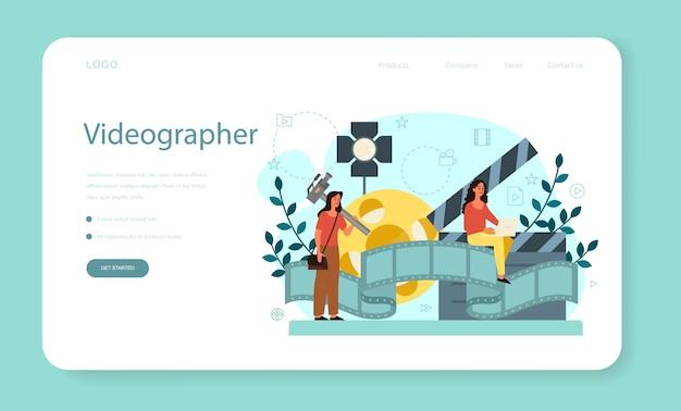 Motion o video er banner web o pagina di destinazione. l'artista crea animazioni al computer per progetti multimediali. editor di animazione, produzione di cartoni animati.