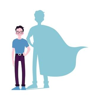 Uomo motivato con l'ombra del supereroe